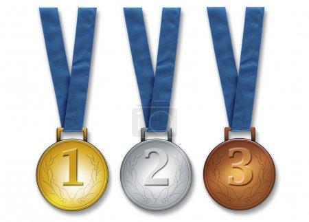 Three winners medals