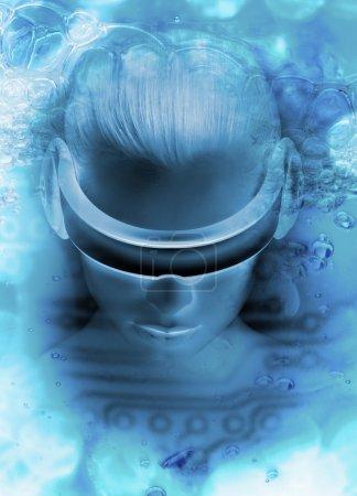 Photo pour Une image conceptuelle d'une jeune femme portant une tête de réalité virtuelle avec des dessins abstraits flottant autour de sa tête - image libre de droit