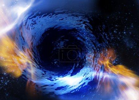 Photo pour Image conceptuelle présentant des équations d'einstein au sujet de l'espace-temps au moyen de trous de ver. - image libre de droit