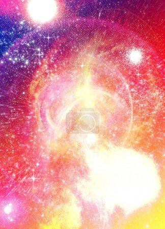 Foto de Imagen conceptual de la teoría del big bang con una estrella como objeto explotar material hacia el exterior en el espacio. - Imagen libre de derechos