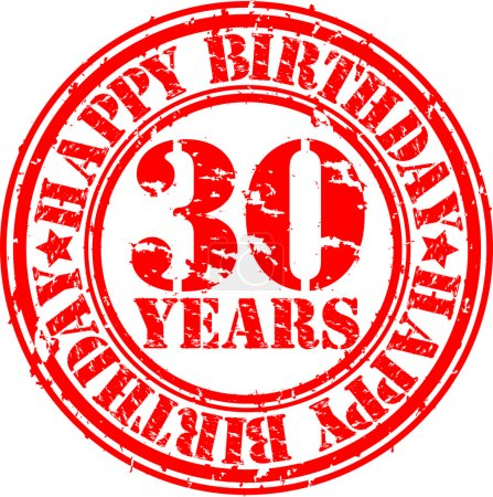Grunge 30 years happy birthday rubber stamp, vector illustration