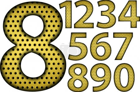 Number set, from 1 to 9, golden, vector illustration