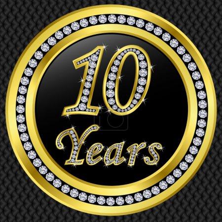 Illustration pour 10 ans anniversaire, joyeux anniversaire icône d'or avec diamants, illustration vectorielle - image libre de droit