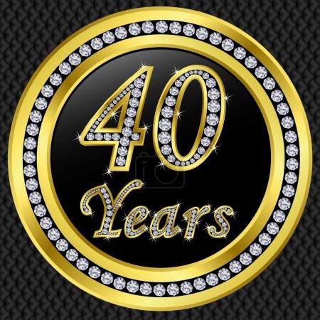 40 years anniversary, happy birthday golden icon with diamonds, vector illu