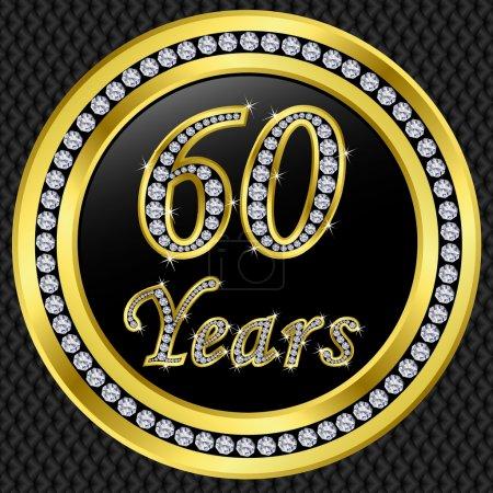 60 years anniversary, happy birthday golden icon with diamonds, vector illu