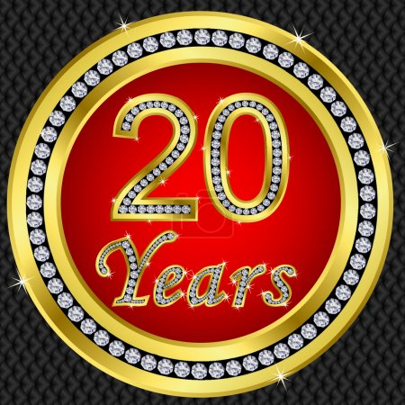 Illustration pour 20 ans anniversaire, joyeux anniversaire icône dorée avec diamants, illustration vectorielle - image libre de droit