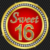 Sweet 16 years anniversary happy birthday golden icon with diamonds vecto