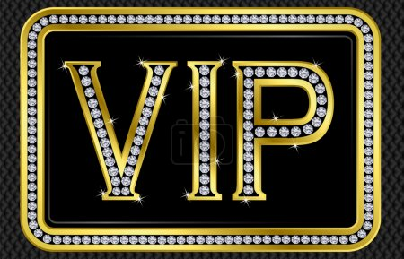 Vip card, golden with diamonds, vector illustration
