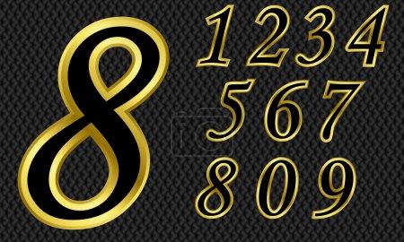 Illustration pour Jeu de nombres dorés, de 1 à 9 - image libre de droit