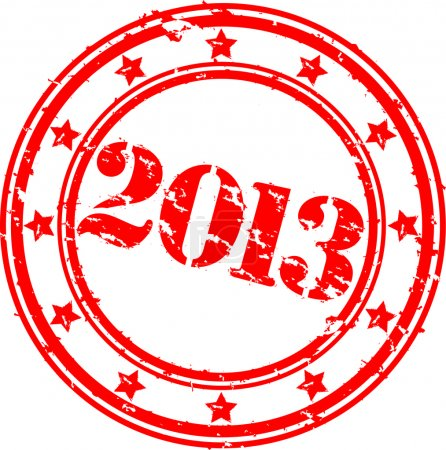 Grunge 2013 Happy New Year rubber stamp, vecto illustration