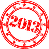 Grunge 2013 Happy New Year rubber stamp vecto illustration