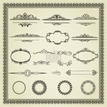 Illustration for Set of design elements: labels, borders, frames, etc. Could be used for page decoration, certificate, etc - Royalty Free Image