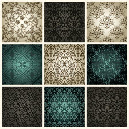Illustration for Set of nine vintage seamless patterns - Royalty Free Image