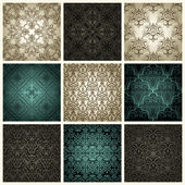 Set of nine vintage seamless patterns