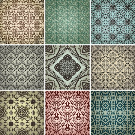 Illustration for Set of 9 seamless patterns in retro style. - Royalty Free Image