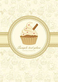 Elegant frame on seamless wallpaper with cupcake