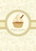 Elegant frame on seamless wallpaper with cupcake