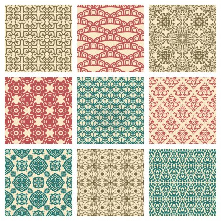 Illustration for Set of nine seamless pattern in retro style - Royalty Free Image