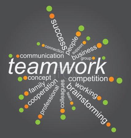 Illustration pour Concept de travail d'équipe avec tag cloud sur fond blanc - image libre de droit