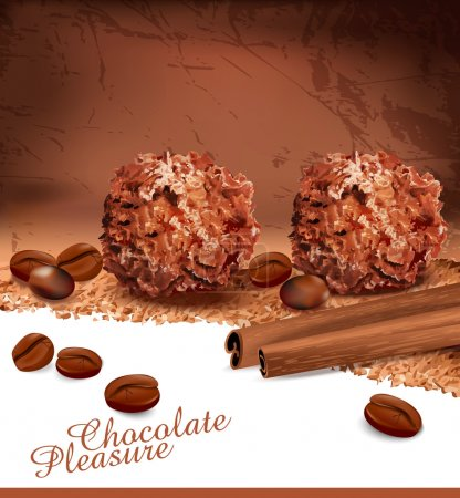 Background with romantic chocolates, coffee beans and cinnamon