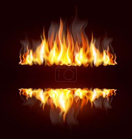 Illustration for Background with a burning flame and place for text - Royalty Free Image
