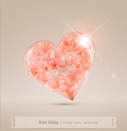 Large glass heart filled with hearts