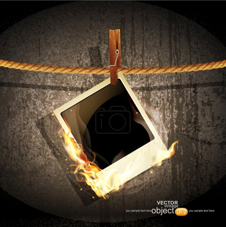 Vector background with a rope hanging and burning old photo