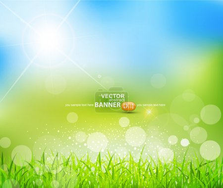 Illustration for Vector natural green background with sun and grass - Royalty Free Image