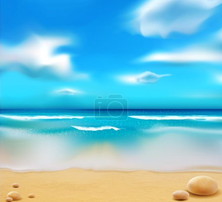 Vector blue ocean from the beach and pebbles