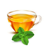 Vector cup of tea with mint leaves on a white background