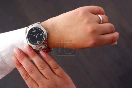 Woman checking time