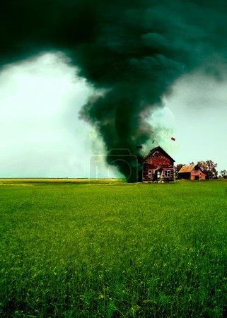Tornado destroying a house