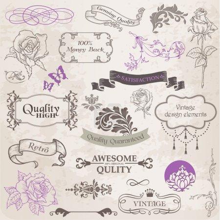 Illustration pour Ensemble vectoriel : Éléments de conception calligraphique et décoration de page, collection de cadres vintage avec fleurs - image libre de droit