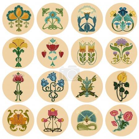 Vintage kwiaty etykieta zestaw - wektor