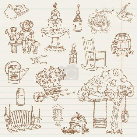 Gardening Hand Drawn Doodles - for scrapbook, design in vector -