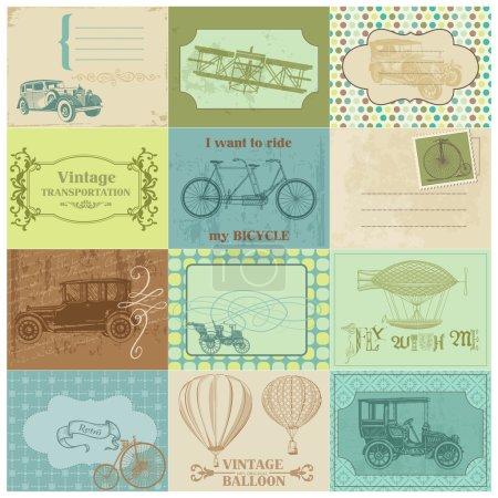 Illustration pour Étiquettes papier Scrapbook et éléments de conception - transport vintage en vecteur - image libre de droit