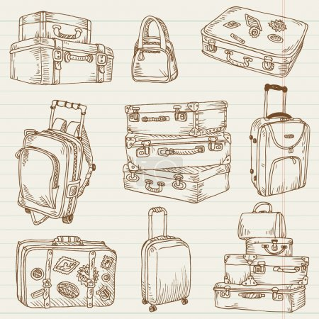 Illustration for Set of Vintage Suitcases - for design and scrapbook in vector - Royalty Free Image