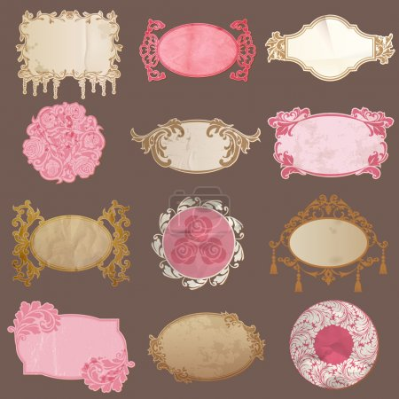 Vector Set: Vintage Paper Frame collection - various tags
