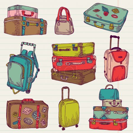Illustration for Set of Vintage Colorful Suitcases - for design and scrapbook in vector - Royalty Free Image