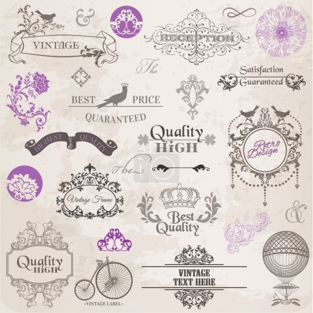 Illustration for Vector Set: Calligraphic Design Elements and Page Decoration, Vintage Frame collection with Flowers - Royalty Free Image
