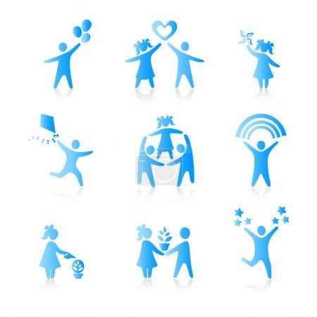 Reihe von Symbolen - Silhouette Familie. frau, mann, kind, kind, junge, g