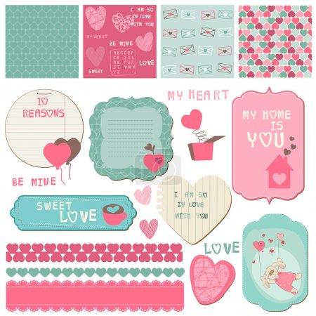 Illustration pour Éléments de conception Scrapbook - amour ensemble - pour les cartes, invitation, salutations en vecteur - image libre de droit