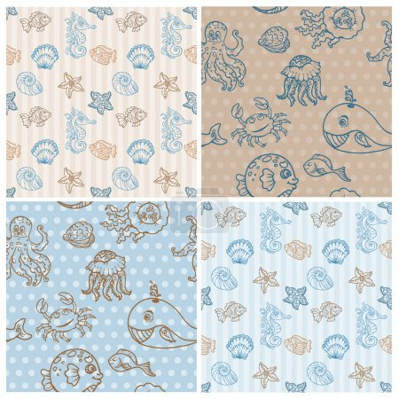 Marine life Background Collection - seamless pattern in vector