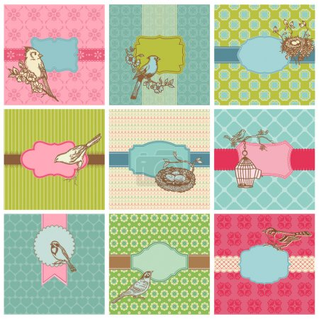 Set of Colorful Cards with Vintage Birds - for birthday, wedding