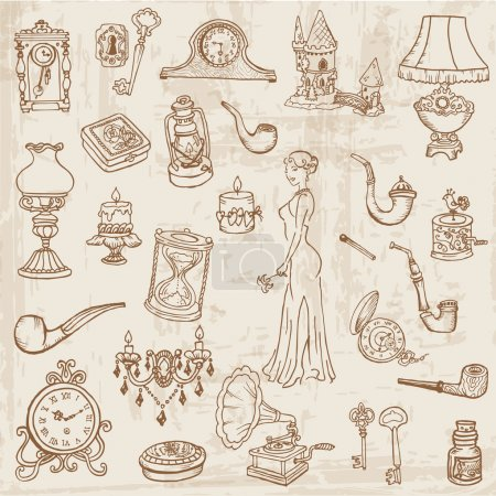 Illustration for Set of Various Vintage Doodle Elements - hand drawn in vector - Royalty Free Image