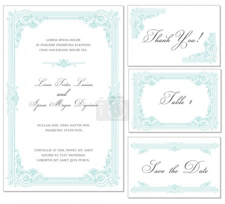 Vector Vintage Wedding Frame Set - for invitations