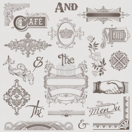 Illustration pour Ensemble vectoriel : Divers éléments de conception rétro - Haute qualité - image libre de droit