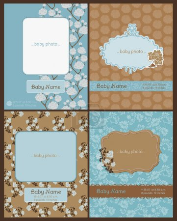 Set of Baby Arrival Cards - with place for your text and photo