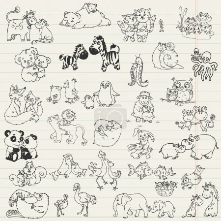 Illustration for Baby Animals with Moms - hand drawn in vector - Royalty Free Image