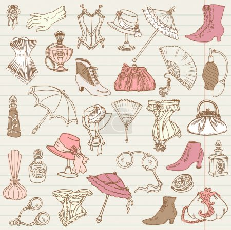 Illustration for Ladies Fashion and Accessories doodle collection - hand drawn in vector - Royalty Free Image